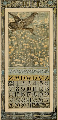 Bird Calendar: July 1907, by Theodoor van Hoytema (1863–1917). Published by Tresling and Co