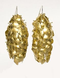 CarrieBilbo - earrings - handmade - sterling silver, brass, 24k gold plating - These sculptural and interactive earrings are from my award winning and very popular collection The Attachment of Fear