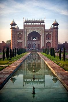 Taj Mahal Entrance, Agra, India. Go while you still can.