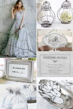 Silver grey wedding color scheme inspired elegance, sophistication and romance. These colors are suitable for different wedding themes and all seasons. Grey Wedding Stationery, Grey Wedding Decor, Gray Wedding Colors, Wedding Chair Signs, Winter Wedding Colors, Wedding Chairs, Wedding Reception Decorations, Wedding Color Schemes, Wedding Themes