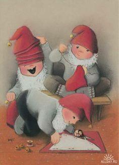 Kaarina Toivanen David The Gnome, Elf Letters, Old Cartoons, Old Fashioned Christmas, Children's Literature, Christmas Background, Scandinavian Christmas, Christmas Art, Christmas Traditions