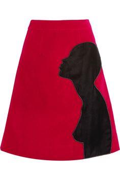 Christopher Kane|Appliquéd cotton-blend velvet skirt|NET-A-PORTER.COM