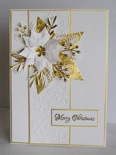 Im late posting today.just catching up on my emails. On to todays tent card.as is the strip going down.Poinsettia die again Spellbinder Christmas Cards 2018, Homemade Christmas Cards, Christmas Star, Homemade Cards, Holiday Cards, Christmas Crafts, Cabin Christmas, Christmas Poinsettia, Embossed Christmas Cards