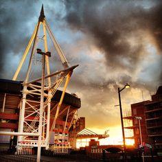 Millennium Stadium at sunset