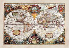 XXL Poster Fototapete Tapete Historische Weltkarte Geographie Foto 160 cm x 115