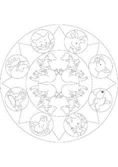 Coloriage d'un Mandala des animaux domestiques