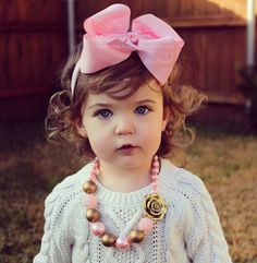 Baby Pink Big Bow Baby Headband  Bubble Gum by RufflesBowtique