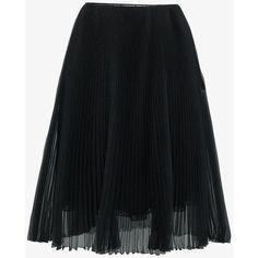 Prada Organza Plissé A-Line Skirt ($1,215) ❤ liked on Polyvore featuring skirts, black, knee length pleated skirt, prada skirt, pleated skirt, prada and silk skirts