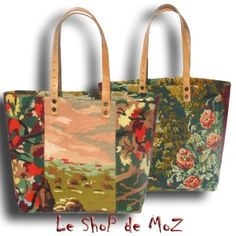 A French Tote Bag Collection, French needlepoint tapestry leshopdemoz.com