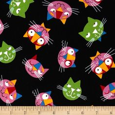 Whiskers & Tails Cats Allover Black from @fabricdotcom  Designed by Ed Miller for Robert Kaufman, this cotton print is perfect for quilting, apparel and home decor accents. Colors include white, black, green, blue, yellow, red and pink.