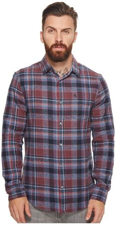 Original Penguin Long Sleeve Twisted Yarn Flannel Men's Long Sleeve Button Up