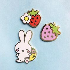 NEW Strawberries and Bunny Pin Set Cute Enamel Pin Set by WinkPins