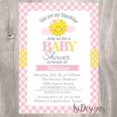 Baby Shower Invitation, Printable You Are My Sunshine, Pink And Yellow Baby  Shower Invite, Sunshine Baby Shower Girl Invite