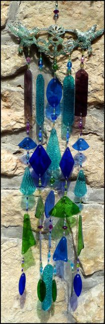 "Stained Glass Wind Chime - Metal Birds Design - 33"" long - $169.95 -Stained Glass Sun Catchers, Stained Glass Wind Chimes, Handcrafted Stained Glass Designs, Suncatchers -  From Accent on Glass - www.AccentonGlass.com"
