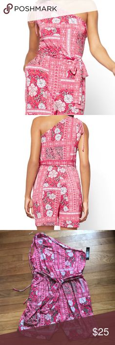 One Shoulder Floral Print Romper Floral and graphic prints complement one another perfectly, creating an eye-catching effect on our sporty romper; the one-shoulder silhouette adds a flirty, on-trend finishing touch.  Never worn and comes from a smoke free home! New York & Company Dresses One Shoulder