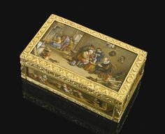 A gold cagework box set with painted porcelain plaques by Jean-Georges Baltz (1760-1831), probably German, mid 19th centuryl16301lot85
