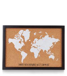 Brown World Map Cork Board | New Look