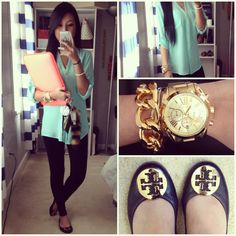 Outfit of Day simple & classic! Shirt: Express  Leggings: BR Bracelet: Etsy: omykate Watch: Michael Kors  Shoes: Tory Burch