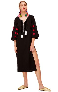 Embroidered Lace Up Maxi Dress by SENSI STUDIO for Preorder on Moda Operandi
