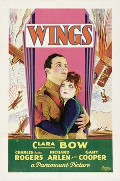 Wings is a 1927 film featuring Clara Bow. With World War I On the rise, David Armstrong and Jack Powell go off to fight in the war. They leave behind Mary Preston who is in love with David but committed to Jack.