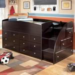 Ashley Twin Loft Bed with Right Steps & Chest Storage mmm wonder if this comes in a king lol