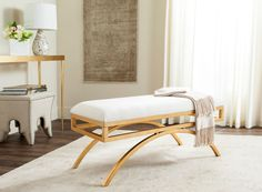 Safavieh Furniture FOX6250C - This radiant arc bench was inspired by the iconic modern pieces of Italian designer Gio Ponti. Sleek and sophisticated, its tailored upholstery complements