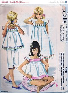 Vintage UNCUT McCalls Pattern 5911 - Girls Nightgown or Pajamas with Capri Pants or Bloomers, and Transfer - Size 8 Childrens Sewing Patterns, Mccalls Patterns, Vintage Sewing Patterns, Clothing Patterns, Dress Patterns, Mode Vintage, Vintage Girls, Vintage Dresses, Vintage Outfits