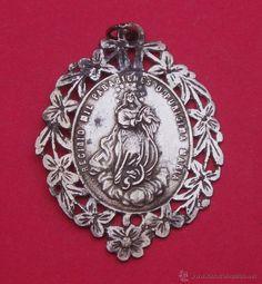 Medalla Siglo XVIII - XIX en Plata Virgen Inmaculada. - Foto 1