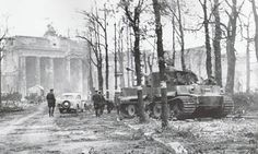 """gruene-teufel: """" The last PzKpfw VI Tiger to fight in Berlin, Tiger No 323 of Panzer Division Müncheberg, sits abandoned on Unter den Linden Strasse about a hundred yards away from the Brandenburg..."""
