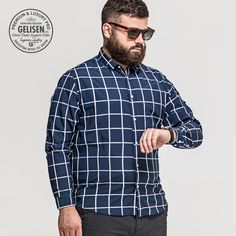 GELISEN Brand Men's Plus Size Shirt  Bear