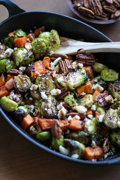 Roasted Brussels Sprouts and Sweet Potatoes with Pecans, Feta, and Balsamic…