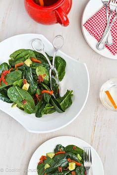 Warm Bourbon Spinach Salad Recipe with Bacon & Avocado - A fun twist for Mardi Gras.