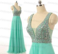 Mint long prom dress Sexy V-neck handmade beading/crystal chiffon mint prom dress formal women evening gowns/bridesmaid dress