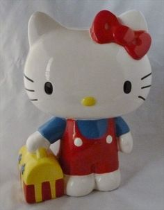 """1999 Hello Kitty Vintage  Porcelain 10.2"""" Pink Piggy bank coin bank from Japan"""