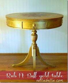 End table covered completely in Rub N Buff and decorated with a DIY compass rose. 9 steps to creating your own compass rose!