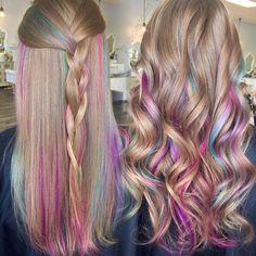Kids Hair Color, Girl Hair Colors, Hair Dye Colors, Cool Hair Color, Dye My Hair, New Hair, Kids Dyed Hair, Pink Hair Streaks, Peekaboo Hair Colors