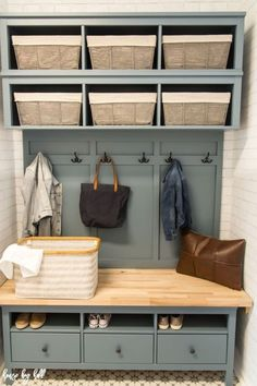 Home Remodeling Mudroom How to Add Storage and Style to a Small Mudroom - House by Hoff - A complete mudroom makeover with mudroom storage, mudroom storage bench, and lots of small mudroom ideas! Mudroom Storage Bench, Bench With Storage, Small Storage, Storage Ideas, Hemnes, Small Mudroom Ideas, Hallway Designs, Trendy Home, Bars For Home