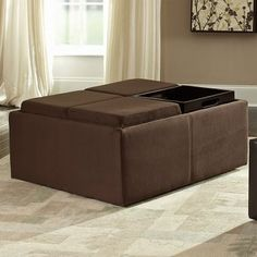 HAVE TO HAVE IT. HOMELEGANCE COFFEE TABLE OTTOMAN WITH 4 TRAYS IN MICROFIBER $279.98