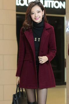 Double-Breasted Woolen Trench Coat