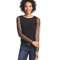Illusion Dot Long Sleeve Top - We're endlessly amazed by the sheer pretty of this dotted illusion style - the solid knit bodice makes it totally wearable. Jewel neck. Long sleeves. Banded neckline. Keyhole detail at back neck with button closure.