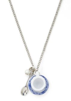 Cup the Ante Necklace by And Mary - Fairytale, International Designer, Blue, White, Silver, Print, Silver