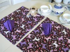 Colorful Ponies Reversible Placemat and Napkin Set by greenlioness, $32.00