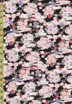 Japanese - Hokkoh - Floral Clusters & River Swirls - 1021-110-3E - Black - 1 1/2 yards