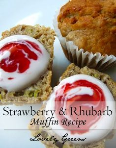 Use fresh rhubarb to make sweet muffins perfect with a dollop of yoghurt and strawberry jam #muffins