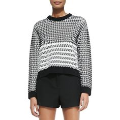Proenza Schouler Long-Sleeve Knit Sweater ($295) ❤ liked on Polyvore featuring tops, sweaters, crewneck sweater, gray sweater, black knit sweater, long sleeve crop top and black cropped sweater