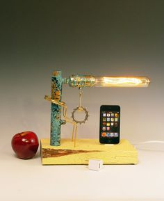 iPhone, iPod dock AND table lamp. Recycled wood. iPhone 3, 4, 5. Steampunk, Industrial, Edison bulb. 3 way light with 1 way bulb. 227. $105.00, via Etsy.