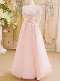 A-Line Appliques Tulle Sexy Long Pink Floor-Length Prom Dresses uk – Wikiprom Short Sleeve Prom Dresses, Pink Prom Dresses, A Line Prom Dresses, Tulle Prom Dress, Ball Dresses, Prom Gowns, Dress Long, Evening Gowns, Pastel Pink Dresses
