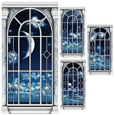 cool  This Midnight Moon Window Panel Standee Set has a magnificent background showing fluffy clouds, twinkling stars and a crescent moon. set of 4   $100