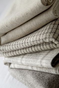 Natural wool hand woven throws