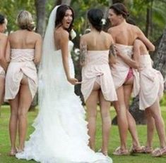 Awesome wedding photo with undies showing - so much better if it was with matching kitty panties!
